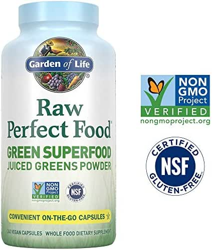 Garden of Life Raw Perfect Food Green Superfood Juiced Greens Powder Capsules - 30 Servings, Non-GMO, Gluten Free, Vegan Whole Food Dietary Supplement, Organic Greens, Juice Sprouts Probiotics, 240ct