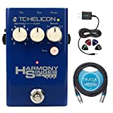 TC Helicon Harmony Singer 2 Pedal Bundle with Blucoil Power Supply Slim AC/DC Adapter for 9 Volt DC 670mA with US Plug, Blucoil Audio 10 Feet XLR Cable and Blucoil Guitar Picks