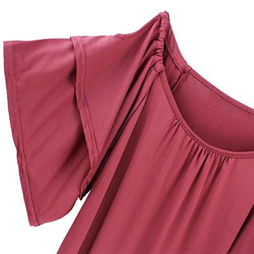 a Courte Lace T Jumpers Bateau Casual Tunique Shirt Manche Denudee Blouse Haut Shirt Ete Top en Uni de Sexy Epaule Chic Chemise Chemiser Col Couleur Pull Sweatshirt Mode Femme Rouge Volant Asymetrique S7XX0w