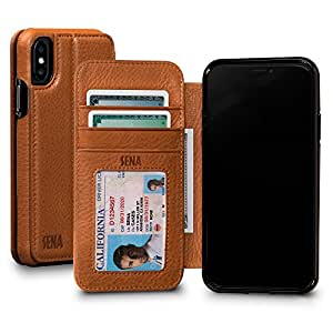 Sena Bence Wallet Book - Genuine Leather Book style Folio Wallet with Kickstand & Card Slots for iPhone X - Tan
