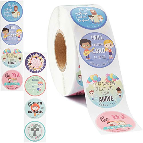 Juvale Christian Bible Verse Stickers for Kids (1000 Count) 1.5 Inches Diameter