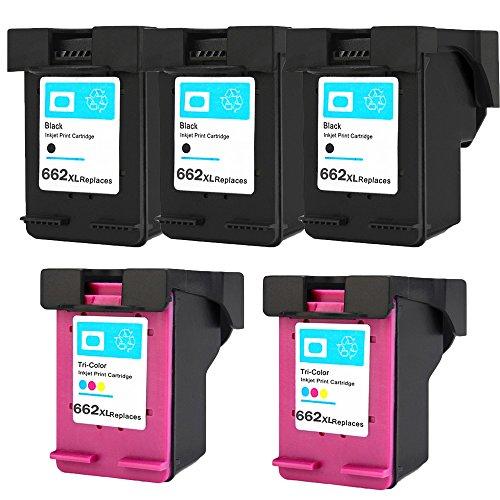 High Capacity Print Cart (ESTON 5 Pack #662XL Black/Color Ink for Deskjet Ink Advantage 1015 1515 2515 2545 2645 3515 3545 4645)