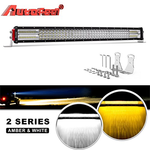 LED Light Bar Curved, Autofeel 32 inch 376W 8D Quad Row Driving Lights Emergency Lights Fog Light Snow Lights Flashing Amber Light Spot Flood Combo Beam Light Bar Off Road Lights for Truck Jeep ATV by AUTOFEEL