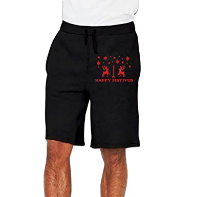 Nx55Ol@KU Mens Fashion Happy Festivus Deers Jogger Sweatpant Training Gym Shorts
