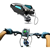 Bike Mount Phone Holder Charger- 6000Mah Power Bank- Charge Your Smartphone While You Ride - Use for All Smartphones & GPS- Mountain Bike- Aluminum Alloy Cradle- Data Cable / USB- Blue