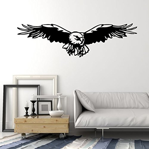 American Bold Headed Eagle Spread Wings Bird Flight Mural Wall Art Decor Vinyl Sticker P111 (M 35 in X 13.5 in) White Headed Eagle
