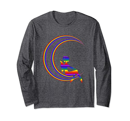 Unisex Women's Rainbow Butterfly Fairy Moon Long Sleeve T-Shirt 2XL Dark (Butterfly Fairy T-shirt)