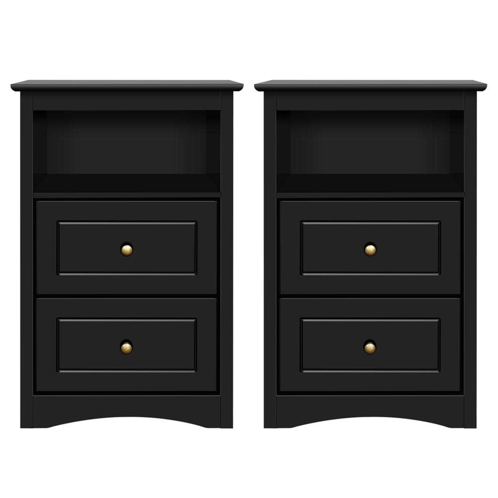 Yaheetech Tall Nightstand Bedside Table End Side Sofa Table with 2 Drawers and Open Shelf - Storage Cabinet Accent Table for Bedroom, Set of 2, Black by Yaheetech