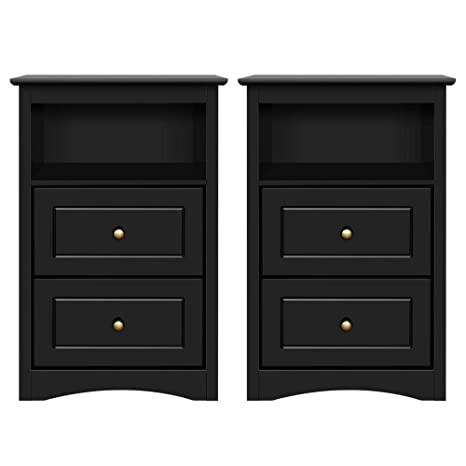 cheap for discount 18310 659f4 Yaheetech Tall Nightstand Bedside Table End Side Sofa Table with 2 Drawers  and Open Shelf - Storage Cabinet Accent Table for Bedroom, Set of 2, Black
