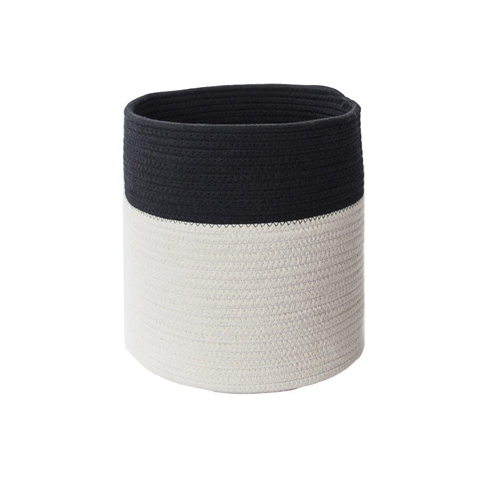 JPPSNH ノルディックコットンロープ黒と白のストレージバスケット大容量の織り環境保護材料シンプルなストレージバスケット (Size : 40*36CM) B07T5DMXPX  40*36CM