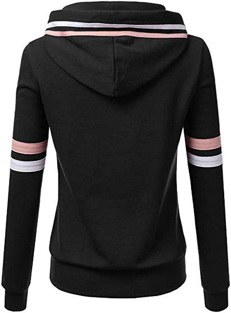 Hosamtel Women Plus Size Casual Coat Stripe Zipper Pocket Slim Fashion Sport Hooded Sweatshirt Jacket