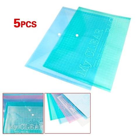 TOOGOO (R) 5 X Carpetas Bolsa de Plastico para Archivos Documentos A4 Multi Color