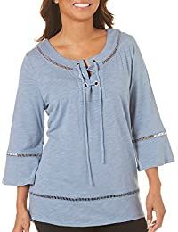 Womens Bell Sleeves Lace up Top