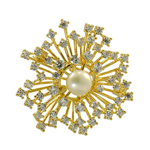 14K Yellow Gold Plated Luxury Cultured Freshwater Pearl Brooch Sunshine (Diamond Freshwater Brooch)