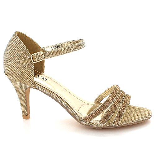 de Haut Soir Cristal Taille Talon Sandales Brillant Chaussures Diamante Dames des mariée Bal Or Fête De Femmes Mariage v47wIq