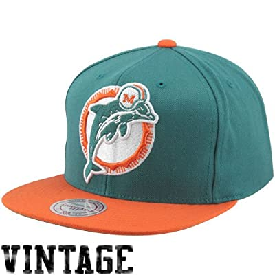 Miami Dolphins Big Logo Teal/Orange Adjustable Snapback Hat / Cap by Mitchell & Ness