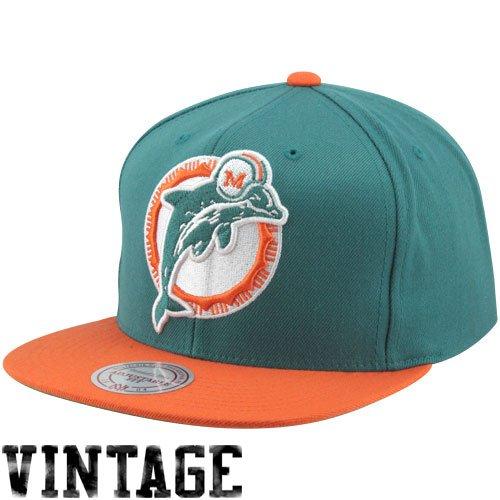 Miami Dolphins Big Logo Teal/Orange Adjustable Snapback Hat / Cap