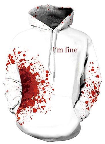 ArtistMixWay 3D Printed Unisex Hoodie Novelty Halloween Sweatshirt Pullover Hoodies,Bloodstain,2X by ArtistMixWay