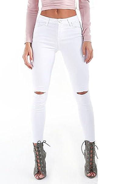 TieNew Leggings Donna in Cotone Jeans Wash - Vestibilita  Elastica E  Confortevole - Cuciture Modello ec629275fec