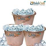 Dakshcraft 100 % Solid Steel Copper Polish Hammered Ice Bucket, Set of 3