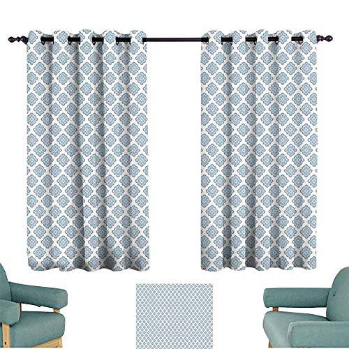 (SONGDAYONE Shabby Chic Multi-Functional Curtain Vintage Victorian Damask Feminine Flower Motif Renaissance Inspirations Cafe Curtain Slate Blue Grey (2 Panels,W96 xL72))