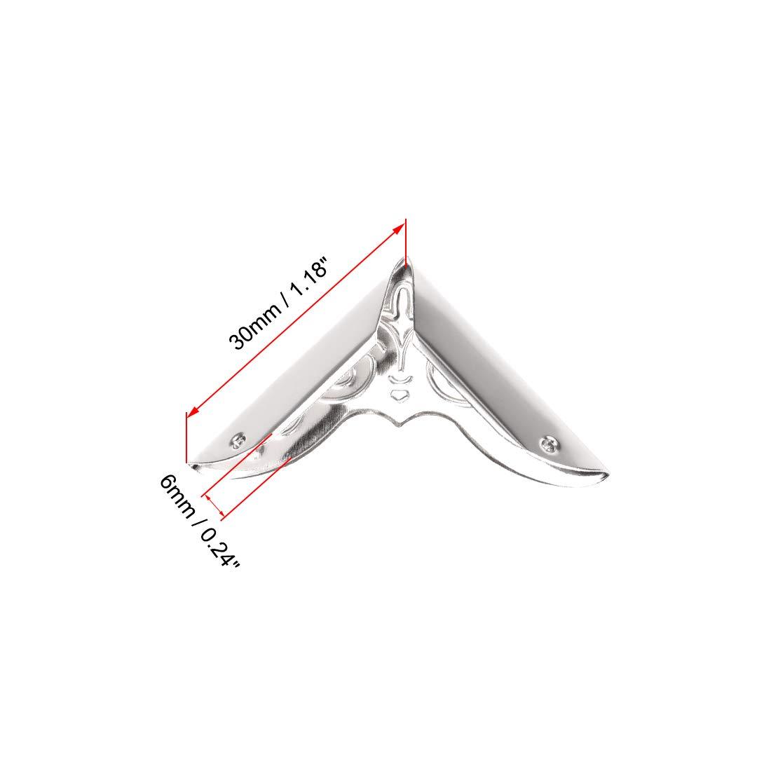 sourcing map Metal Libro Borde Protector Cubierta Protectores Esquina Tono de Bronce 25 x 25 x 5 mm-50 Piezas