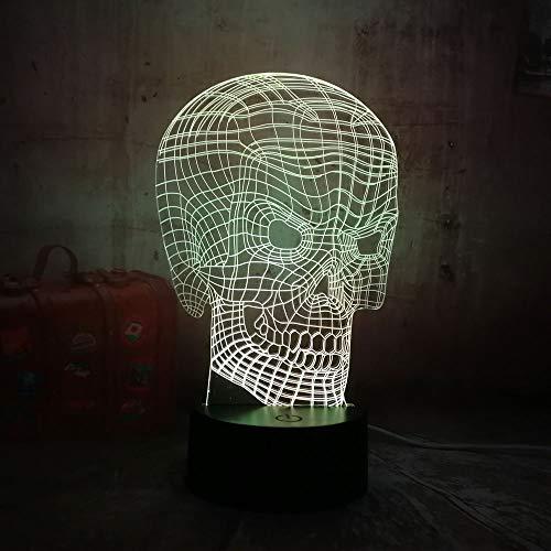 Cool 3D Skull Head Illusion USB RGB Led Night Light Remote Desk Lamp Lighting for Halloween Bar Decorations Gift for Kids -