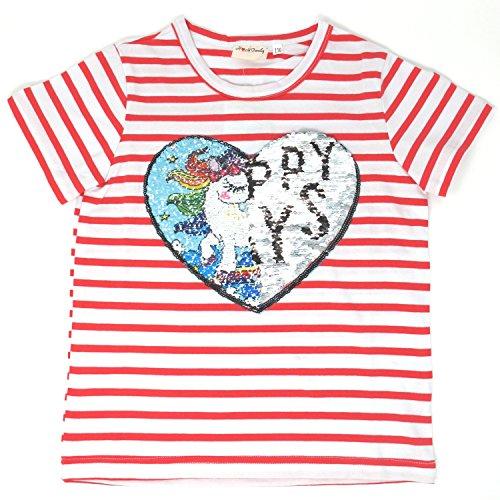 Heart Kids T-shirt - Unicorn Flip Heart Sequin Girl's T-Shirt with Flip Sequin Unicorn Headband 4-12 Years (5, Stripe Shirt Only)