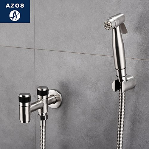 Azos Bidet Faucet Pressurized Sprinkler Head Stainless Steel Stainless Steel Cold Water Two Function Washing Machine Pet Bath Laundry Pool Round PJPQB007B