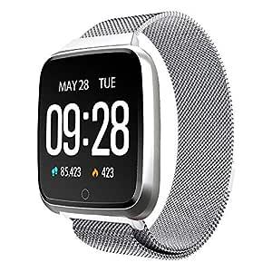 TDOR Smartwatch Mujer Android GPS Lectura Whatsapp, Música, Reloj Deportivo, Color Plateado