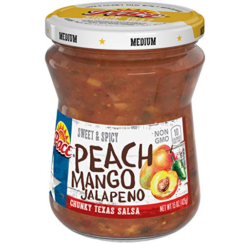 Pace Peach Mango Jalapeño Salsa, Medium,  15 oz. Glass Jar