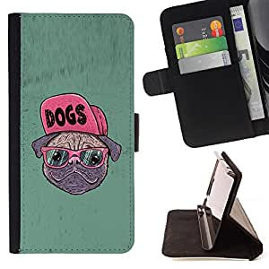 - Dog Pug Funny Art Swag Style Glasses Hipster - - Monedero PU titular de la tarjeta de cr????dito de cuero cubierta de la caja de la bolsa FOR Apple Iphone 6 RetroCandy