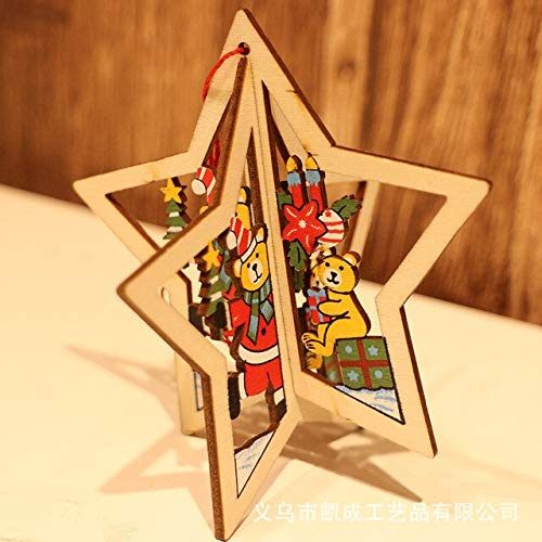 Cacys-Store - Christmas Carving Wooden Pendant Jewelry DIY Party Decoration arbol de navidad Ornament Children's Gift Window Pendant