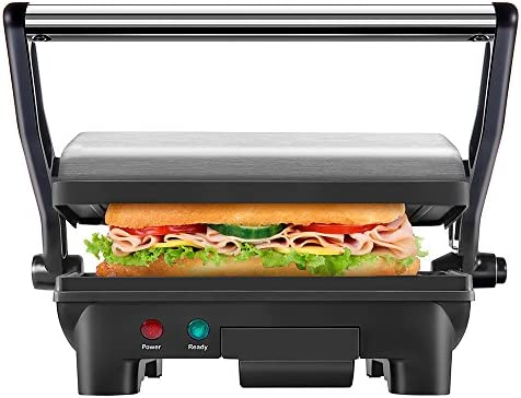 New House Kitchen Stainless Steel Non-Stick Panini Press Grill Gourmet Sandwich Maker with Removable Drip Tray and 180 Degree Opening Function