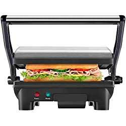 Chefman Panini Press Grill, and Gourmet Sandwich Maker Non-Stick Coated Plates, Opens 180 Degrees to Fit Any Type or Size of Food, Stainless Steel Surface and Removable Drip Tray