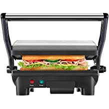 Chefman RJ02-180 Panini Press Grill, and Gourmet Sandwich Maker Non-Stick Coated Plates, Opens 180 Degrees to Fit Any Type or Size of Food, Surface and Removable Drip Tray, Stainless Steel