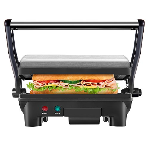 Chefman Panini Press Grill, and Gourmet Sandwich Maker Non-Stick Coated Plates, Opens 180 Degrees to Fit Any Type or Size of Food, Stainless Steel Surface and Removable Drip Tray by Chefman