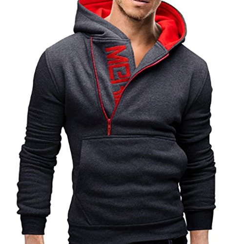 Men's Winter Clothes, New Men's Casual Hooded Sweatshirt Tops Jacket (Dark Gray,...