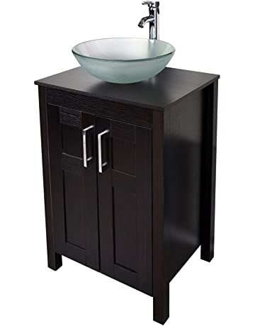 f1a6153e890 Morden Bathroom Vanity with Frosted Glass Vessel Sink Round Bowl