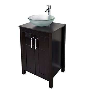 Morden Bathroom Vanity With Frosted Glass Vessel Sink Round Bowl