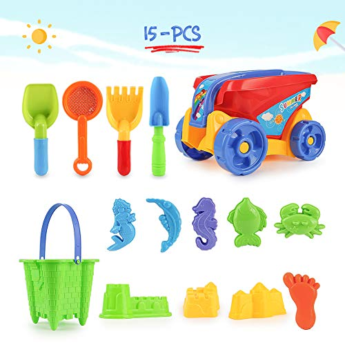 Lovelion Beach Sand Toy Set Children's Toys Including Trucks, Sandbox Barrel Animal molds, Suitable for Girls and Boys Over 1.2.3 Years Old