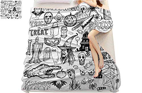 Curioly Vintage Halloween, Super Soft Lightweight Blanket, Hand Drawn Halloween Doodle Trick or Treat Party Severed Hand Design, Microfiber for Bedding or Sofa, (W70 x L90 Inch Black White ()