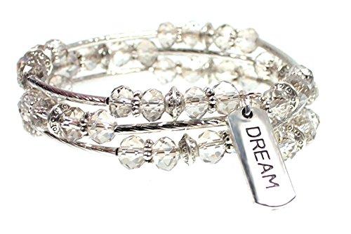 'Dream' Message Charm Faceted Bead Triple Wrap Bangle Bracelet