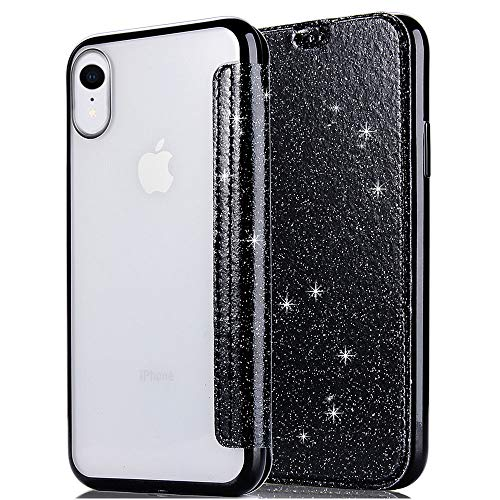 eaLAB XR Case Luxury Compatible with iPhone X R Cases Glitter iPhonexr Phone Cover Folio Protective Skin 2018 New 6.1 inch (Black)