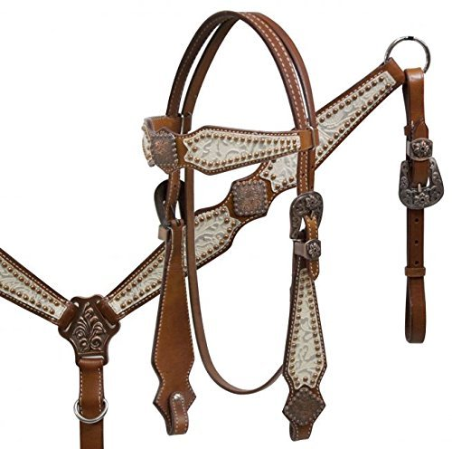 (Leather Silver Filigree Headstall and Breast Collar Set)