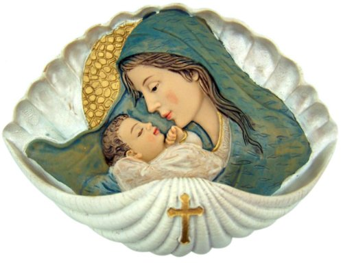 A Mother's Embrace Madonna and Child 6 Inch Resin Holy Water Font for Home or Church -