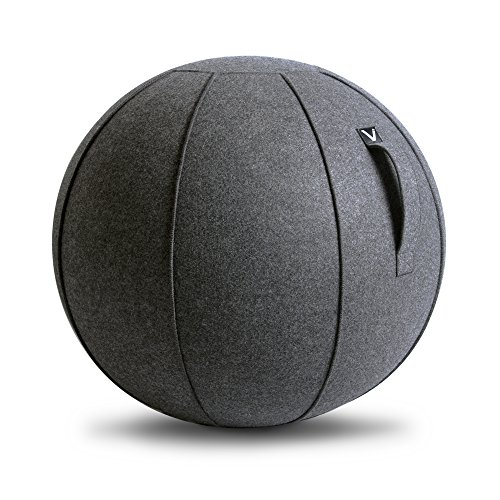 Vivora Luno - Self-Standing Sitting Ball - Ergonomic Desk Chair for Home, Office, Yoga, Exercise, Stability, and Labor, With Pump and Handle, Base Ring Not Needed – Capacity Limit 400lbs (Equipment Fitness 400)