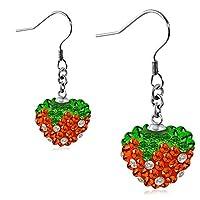 Stainless Steel Love Heart Shamballa Long Drop Hook Earrings w/ Colorful CZ (pair) - EEZ068