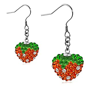 Stainless Steel Love Heart Shamballa Long Drop Hook Earrings w/ Colorful CZ (pair) - EEZ068