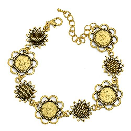 12mm Round Blank Bezel Bracelet Blanks Forms fit 12mm Round Cabochons Pack of 5 (Antique Gold) - Gold Bezel Link
